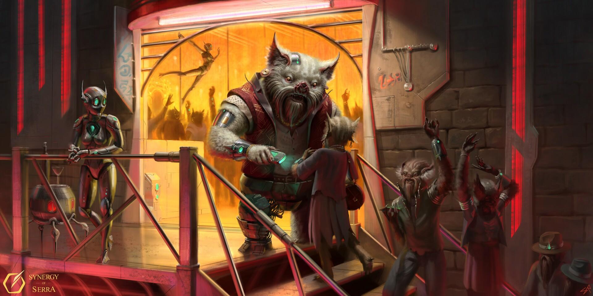 Cyborg bouncer guarding a cyberpunk nightclub.
