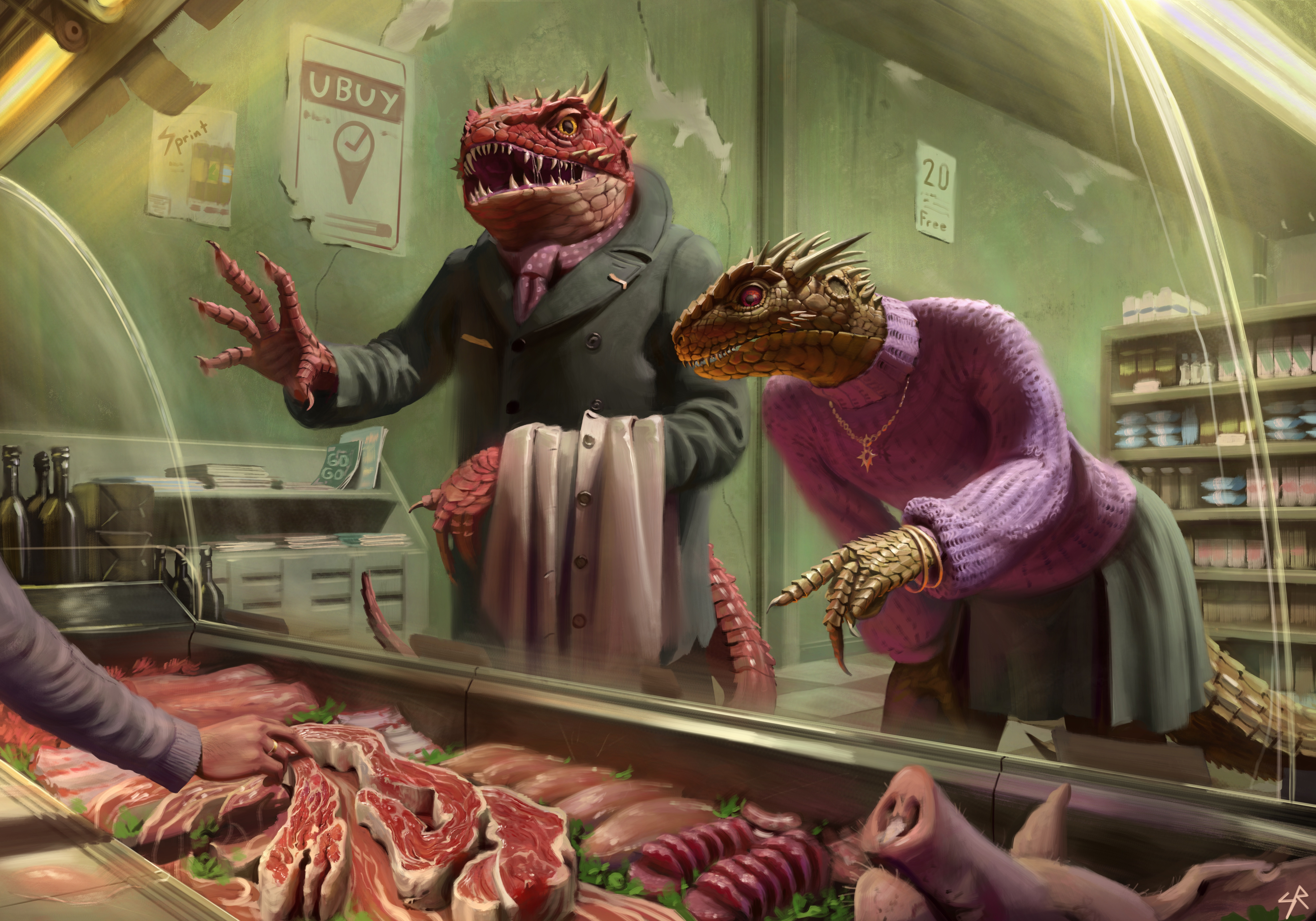 Dragonborn Serpent People Shopping for Meat.
