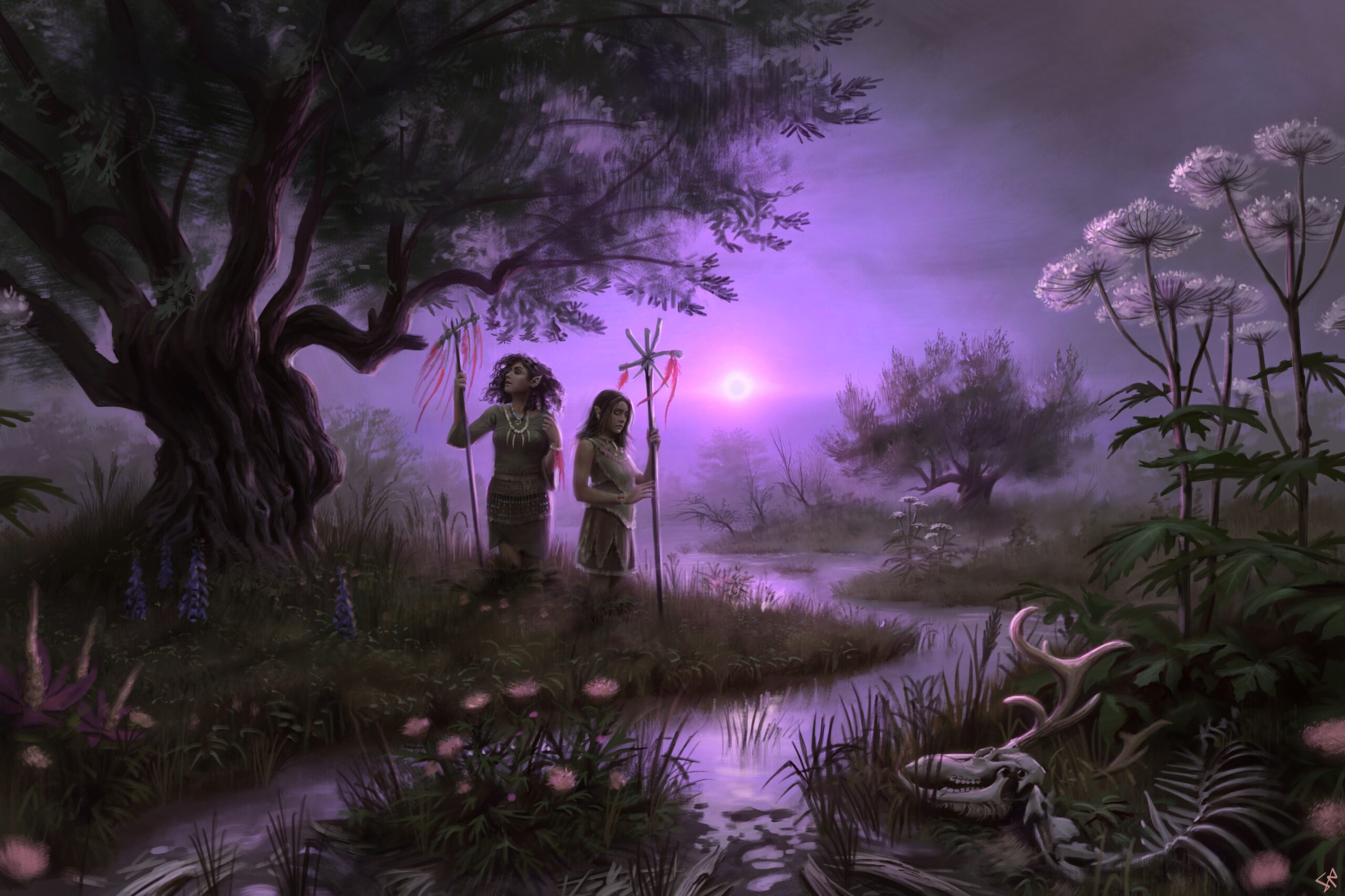 A painting of a dark fantasy swamp with purple lighting.