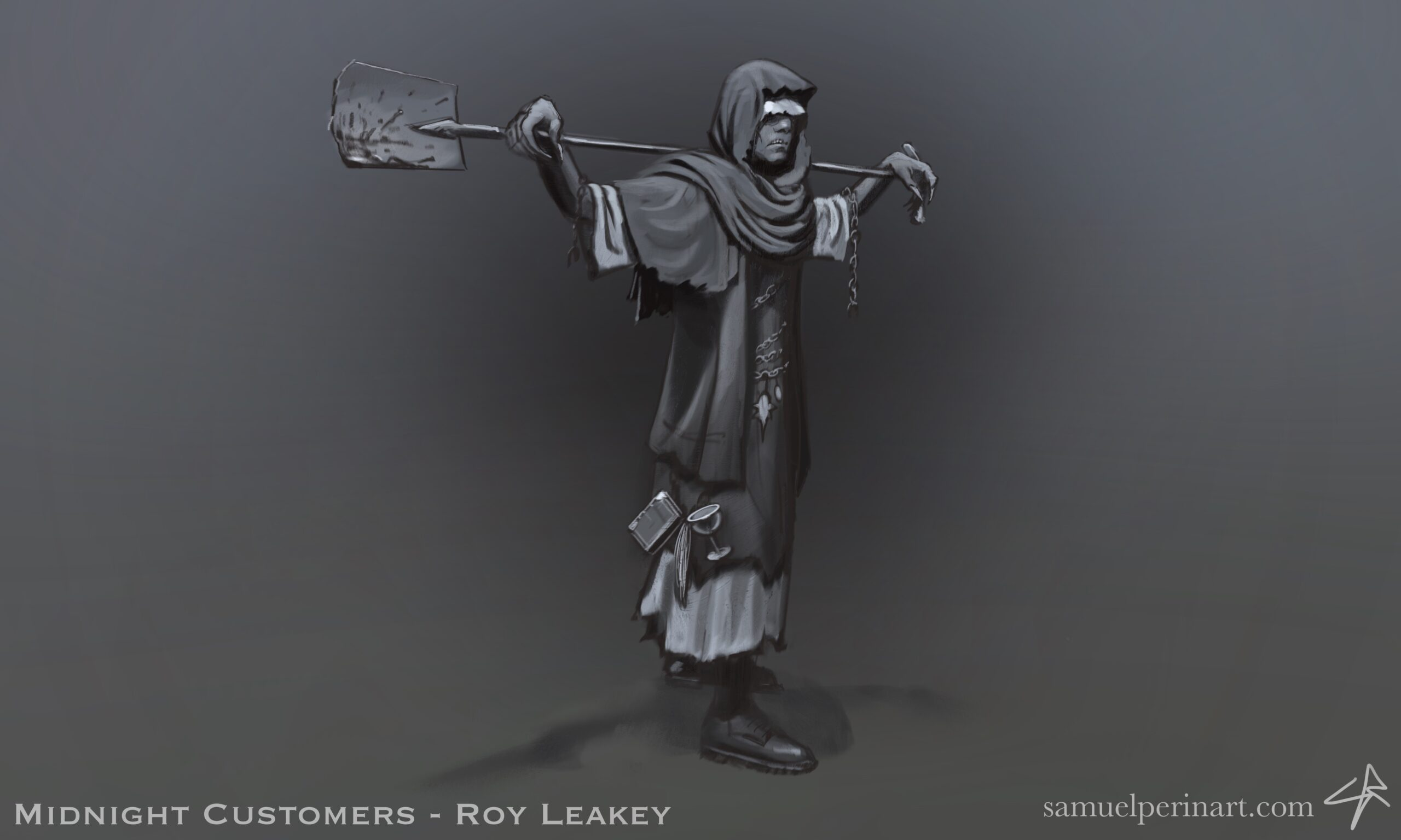 A drawing of Lovecraft's Roy Leakey holding a bloody shovel.